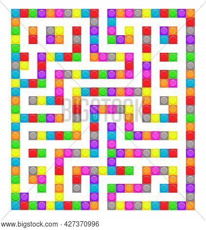 Square Maze Bricks Toy Labyrinth Game For Kids. Labyrinth Logic Conundrum. One Entrance And One Righ