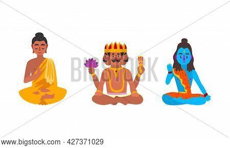 Indian Gods Set, Brahma, Sitting Buddha, Shiva Idols Cartoon Vector Illustration