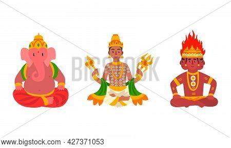 Indian Gods Set, Agni, Ganesha, Indra Idols Cartoon Vector Illustration