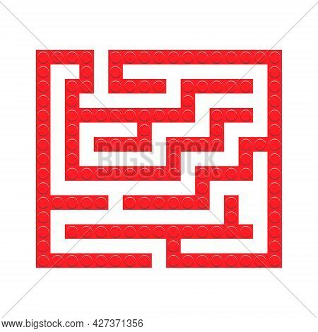 Square Maze Red Bricks Toy Labyrinth Game For Kids. Labyrinth Logic Conundrum. One Entrance And One