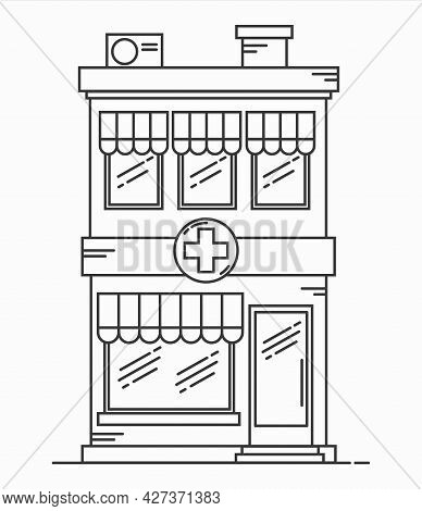 Pharmacy Building Line Medicine Concept. Architectural Form Can Be Used For Website Design, Infograp