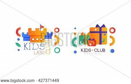 Kids Land Logo Set, Kindergarten, Playground, Game Area, Party For Children Bright Original Badges F