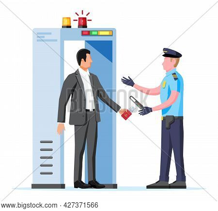 Metal Detector Gate Isolated On White. Scanner Gate, Man And Police Officer Icon. Frame Detecting Me