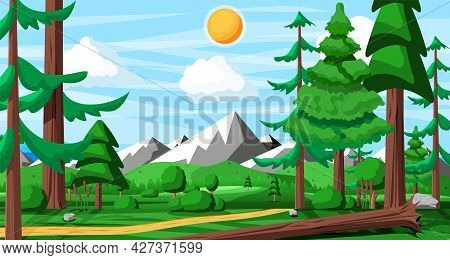 Landscape Of Mountains And Green Hills. Summer Nature Landscape With Rocks, Forest, Grass, Sun, Sky