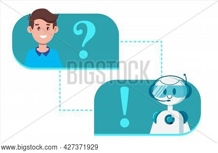 Chat Bot Concept. A Man Is Chatting With A Cute Smiling Robot. Communication And Messaging. Dialog I