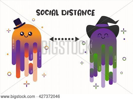 Social Distancing For Halloween Day. Party Ghosts Keep Their Distance To Avoid Covid 19. Flat Flat C