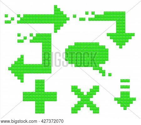 Set Of Green Arrow Icons From Constructor Blocks. Speech Bubble And Plus Sign. Can Be Used For Websi