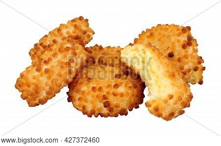 Cheddar Cheese Nuggets With A Crispy Puffed Rice Coating Isolated On A White Background