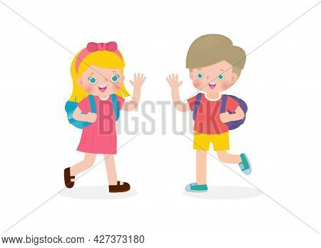 Caucasian Children With The Backpack Saying Goodbye To Schoolmates Cartoon Characters Boy And Girl S