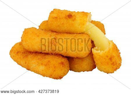 Group Of Breadcrumb Covered Mozzarella Cheese Sticks Isolated On A White Background