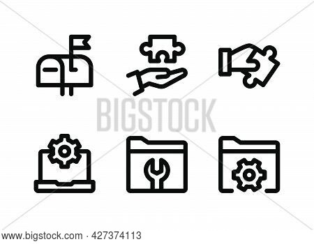 Simple Set Of Help And Support Related Vector Line Icons. Contains Icons As Mailbox, Problem Solving