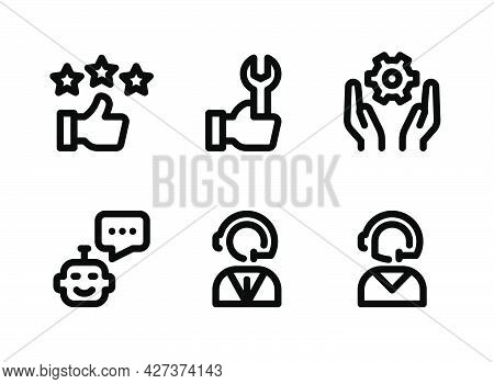 Simple Set Of Help And Support Related Vector Line Icons. Contains Icons As Customer Feedback, Techn