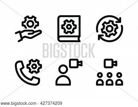 Simple Set Of Help And Support Related Vector Line Icons. Contains Icons As System Configuration, Ma