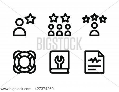 Simple Set Of Help And Support Related Vector Line Icons. Contains Icons As Customers, Life Saving,