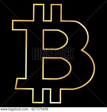 Gold Contour Bitcoin Btc Token Symbol Isolated On Black. Design Element. Vector Illustration.
