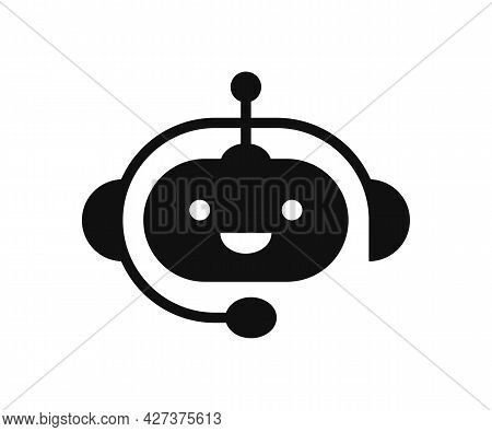 Chatbot Icon. Support Bot. Cute Smiling Robot With Headset. The Symbol Of An Instant Response From T