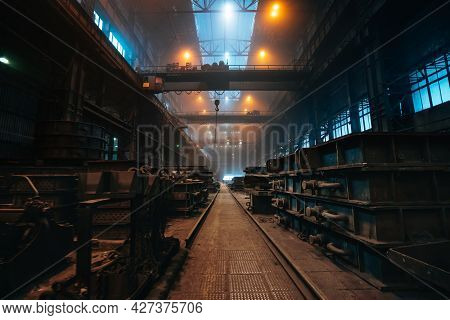 Foundry Workshop Interior. Typical Metallurgical Plant. Heavy Industry Background.