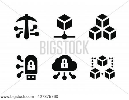Simple Set Of Crypto Related Vector Solid Icons. Contains Icons As Blockchain, Crypto Mining, Flash
