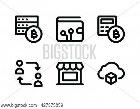 Simple Set Of Crypto Related Vector Line Icons. Contains Icons As Bitcoin Servers, Digital Wallet, P