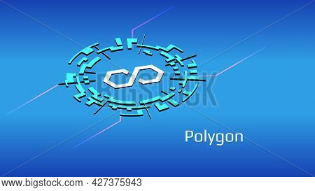 Polygon Matic Isometric Token Symbol In Digital Circle On Blue Background. Cryptocurrency Coin Icon.