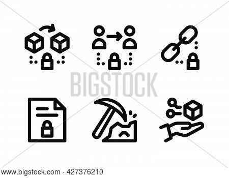 Simple Set Of Crypto Related Vector Line Icons. Contains Icons As Secure Blockchain, Peer To Peer, E