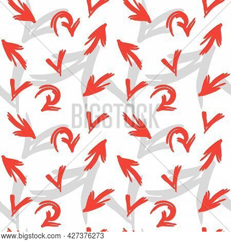 Red And Grey Arrows Seamless Pattern. Hand Drawn Vector Background