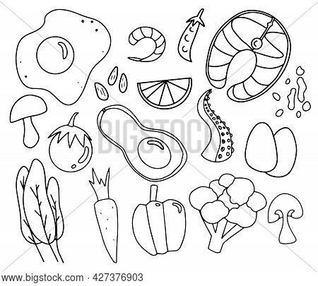 Trendy Keto Food Doodle Line Art Background