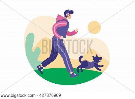 Morning Run With Dog. Man In Tracksuit And Headphones Runs Along Road. Joyful Dog Jumps Near Him. Ac