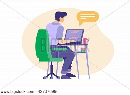 Working As Web Operator. Male Character At Laptop Corresponding In Online Chat With Client. Technolo