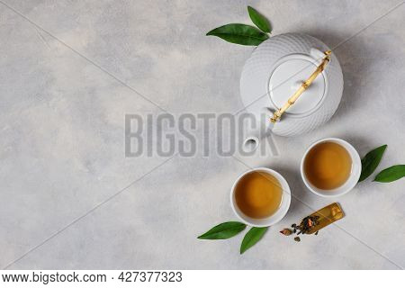 Tea Ceremony With Teapot And Tea Cups Top View With Copy Space. Asian Tea Ceremony.