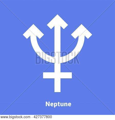 Neptune. Planet Symbol. Vector Color Sign. Astrological Calendar. Jyotisha. Hinduism, Indian Or Vedi