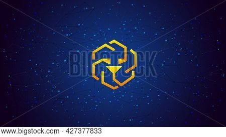 Unus Sed Leo Token Symbol Cryptocurrency Theme On Blue Polygonal Background. Cryptocurrency Coin Log