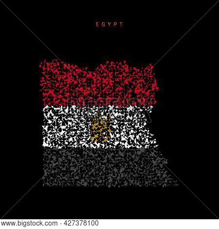 Egypt Flag Map, Chaotic Particles Pattern In The Colors Of The Egyptian Flag. Vector Illustration Is