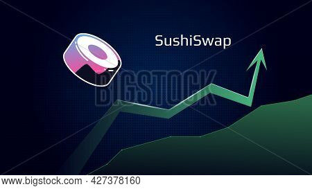 Sushiswap Sushi In Uptrend And Price Is Rising. Crypto Symbol And Green Up Arrow. Coin Of Defi Secto