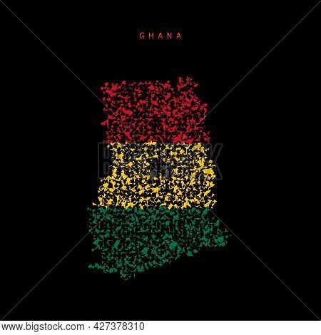 Ghana Flag Map, Chaotic Particles Pattern In The Colors Of The Ghanaian Flag. Vector Illustration Is