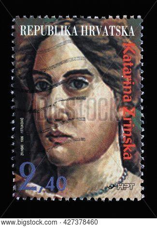 ZAGREB, CROATIA - AUGUST 29, 2014: A stamp printed in Croatia shows Katarina Zrinska a Croatian noblewoman and poet, born into the House of Frankopan noble family, circa 1996