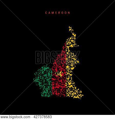 Cameroon Flag Map, Chaotic Particles Pattern In The Colors Of The Cameroonian Flag. Vector Illustrat