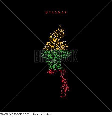 Myanmar Flag Map, Chaotic Particles Pattern In The Colors Of The Burma Flag. Vector Illustration Iso