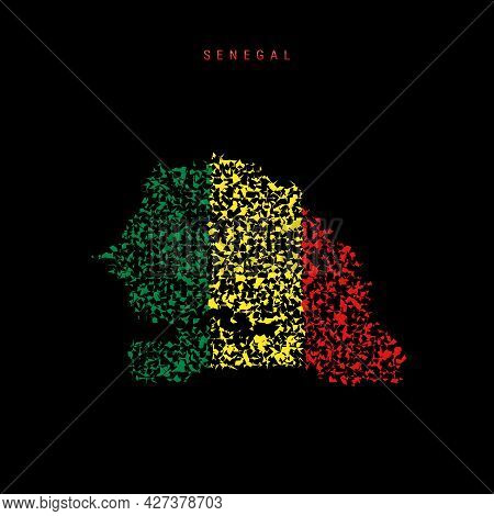 Senegal Flag Map, Chaotic Particles Pattern In The Colors Of The Senegalese Flag. Vector Illustratio