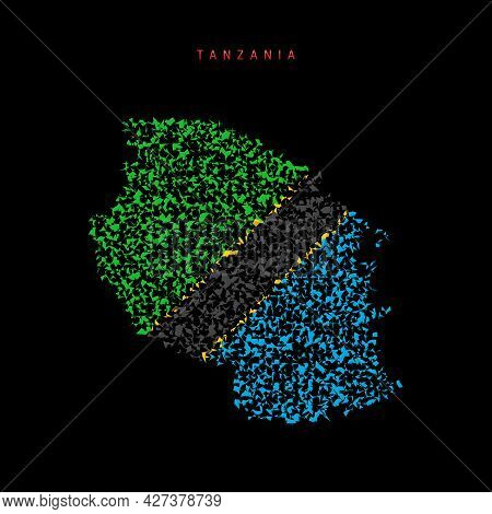 Tanzania Flag Map, Chaotic Particles Pattern In The Colors Of The Tanzanian Flag. Vector Illustratio