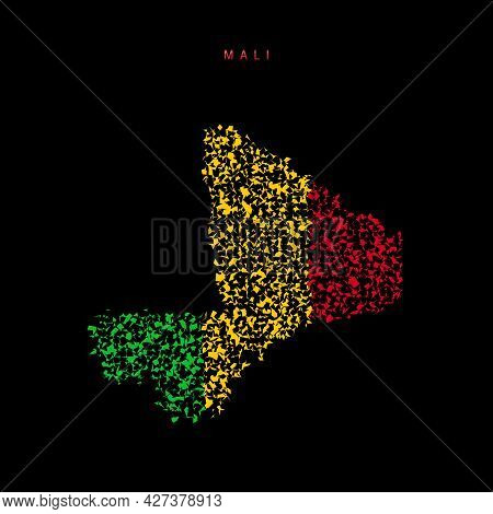 Mali Flag Map, Chaotic Particles Pattern In The Colors Of The Malian Flag. Vector Illustration Isola