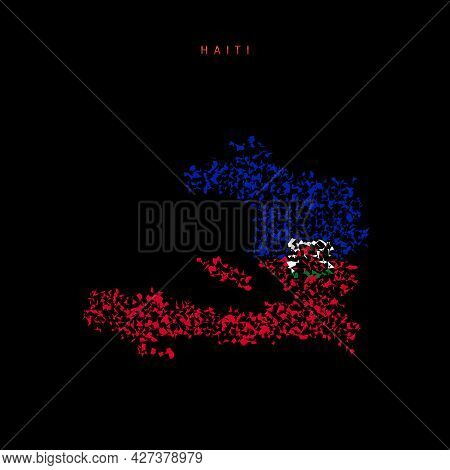 Haiti Flag Map, Chaotic Particles Pattern In The Colors Of The Haitian Flag. Vector Illustration Iso