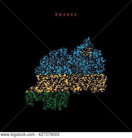 Rwanda Flag Map, Chaotic Particles Pattern In The Colors Of The Rwandan Flag. Vector Illustration Is