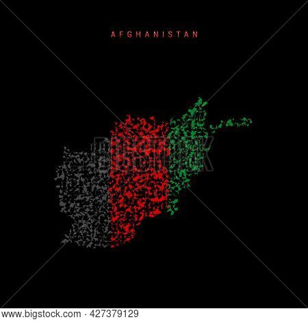 Afghanistan Flag Map, Chaotic Particles Pattern In The Colors Of The Afghan Flag. Vector Illustratio