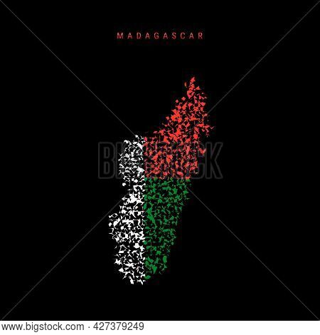 Madagascar Flag Map, Chaotic Particles Pattern In The Colors Of The Madagascar Flag. Vector Illustra