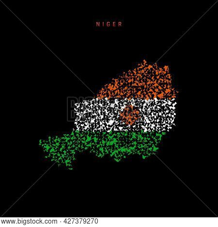 Niger Flag Map, Chaotic Particles Pattern In The Colors Of The Nigerian Flag. Vector Illustration Is