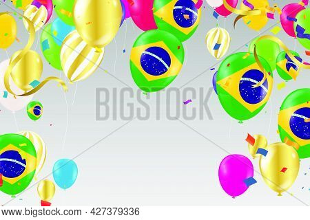 Brazil Independence Day Poster. Patriotic Holiday.brazil Balloons