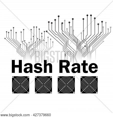 Hash Rate Of Blockchain Network With Asic Icon Isolated On White.  Cryptocurrency Mining Devices And