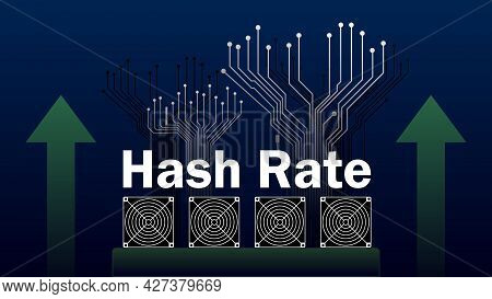 Hash Rate Of Blockchain Network Increase.  Cryptocurrency Mining Devices With Green Up Arrows And Pc