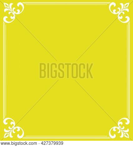Decorative Frame Elegant Vector Element For Design In Eastern Style, Place For Text. Floral Yellow A